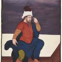 49. aeuropean figure seated on a bench, india, mughal, first half 17th century