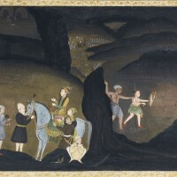 201. bhils hunting black buck at night, a prince on horseback with his entourage nearby, mughal, oudh, late 18th century, with calligraphy dated 1168 ah/1754 ad