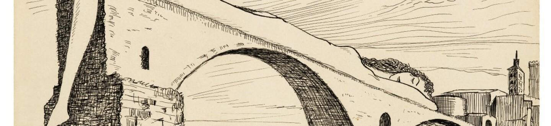 Drawing by Man Ray entitled Le Pont Brisé (Pont D'avignon).