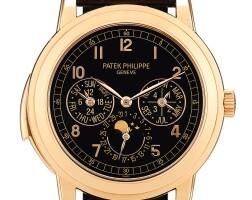 2357. 百達翡麗   型號5074 粉金三問萬年曆腕錶,備大教堂鐘聲簧音、月相、24小時及閏年顯示,機芯編號5000878,錶殼編號4557017,2012年製