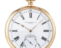 199. 百達翡麗(patek philippe)   「chronometro gondolo」粉紅金懷錶,1910年製。