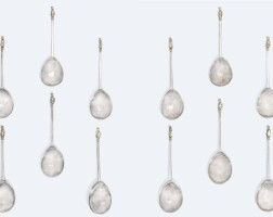 103. the unique set of twelve elizabeth i silver spoons known as 'the campbell lion sejants', maker's mark c or a crescent enclosing r, london, 1569 |