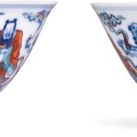 3603. 清雍正 鬪彩八仙過海圖盌一對 《大清雍正年製》款 |