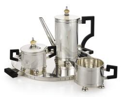 583. an american silver art deco three-piece coffee set with matching tray, erik magnussen for gorham mfg. co., providence, ri, circa 1930 |