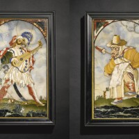12. 佛羅倫斯硬石鑲嵌畫像一對,巴喬·卡佩利繪製 1704及1706年,隨雅克·卡洛雕刻作品 |