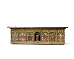 12. a spanish painted and giltwood predella, partly late 15th century
