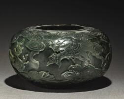 236. a spinach-green jade 'dragon' alms bowl qing dynasty, 17th / 18th century |