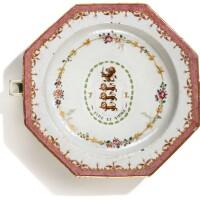 308. a chinese export armorial octagonal warming dish, qing dynasty, qianlong period, circa 1775 |