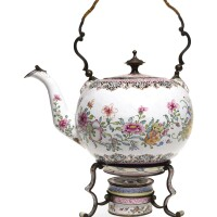 9. a canton enamel teapot, cover and warming stand qing dynasty, qianlong period |