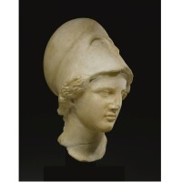 8. a marble head of the athena vescovali, roman imperial, circa 1st century a.d.