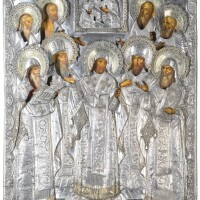 459. a monumental parcel-gilt silver icon of the rostov saints, dmitri andreev, st petersburg, 1849