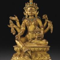116. 十八世紀 西藏 鎏金銅合金財源天母坐像