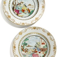 314. two chinese export porcelain european subject plates, qing dynasty, qianlong period, circa 1755 |