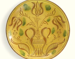 522. rare sgraffito glazed red earthenware plate with three tulips in vase, john dry (1785-1870) dryville, rockland township, berks county, pennsylvania, dated 1819