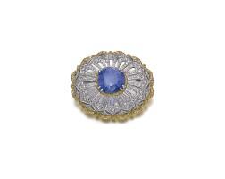 42. sapphire and diamond brooch