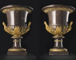 40. a pair of large scale swedish gilt-bronze mounted blyberg porphyry vases, circa 1830, by the elfdahls porfyrwerk, the mounts, paris, circa 1830