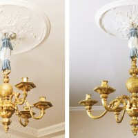 35. a pair of gilt-bronze chandeliers in french régence style, after a model by andré-charles boulle, early 20th century  
