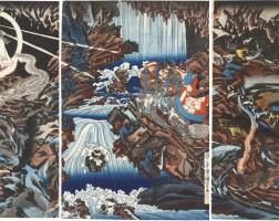 15. utagawa kuniyoshi (1797–1861)nitta no shiro tadatsune and the white dragon ghost edo period, 19th century | nitta no shiro tadatsune and the white dragon ghost, edo period, circa 1844