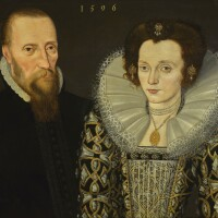 128. english school, 1596 | double portrait of a gentleman and his wife, both half-length