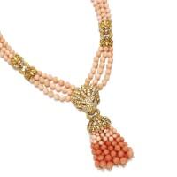 461. coral and diamond sautoir