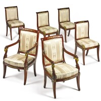 38. a suite of russian neoclassical style gilt bronze-mounted mahogany seat furniture