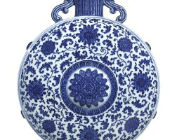 10. a large, magnificent and rare blue and white 'lotus' moonflask qianlong seal mark and period