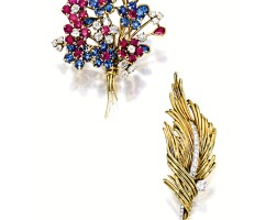 1603. gem-set and diamond brooch, van cleef & arpels; diamond brooch, cartier