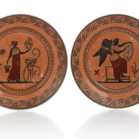 36. a pair of russian porcelain plates from the etruscan service, imperial porcelain manufactory, st. petersburg, period of nicholas i (1825-1855)