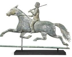 1784. molded copper and cast-zinc hunter on horseback weathervane |
