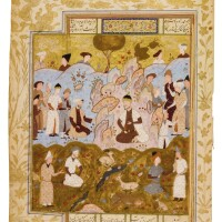 12. an illustrated and illuminated leaf from a manuscript of firdausi's shahnameh: gayumars' first achievement: the introduction of clothing, persia, safavid, shiraz, 16th century