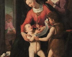 6. florentine school, after santi di tito | the holy family with saint elizabeth and the infant saint john