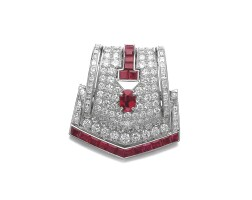 163. ruby and diamond brooch, cartier, 1930s