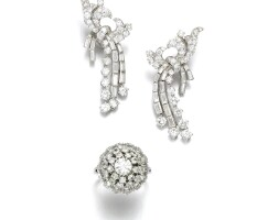 9. pair of diamond ear clips and a ring