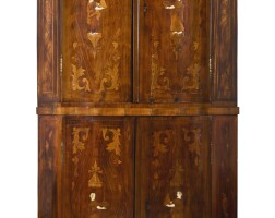 45. an austrian neoclassical fruitwood and ivory marquetry corner cupboard, circa1770  
