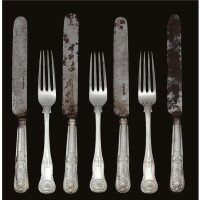 13. a set of royal german silver forks and silver knives, made by a member of the matthias family, hanover, 1860