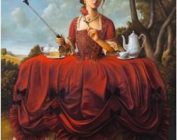 219. 布萊恩·宇興 | 手機與紅裙少女(拿著手機的紅裙少女)