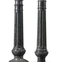 311. two similaredwardian carved green serpentine columnar pedestals, early 20th century |