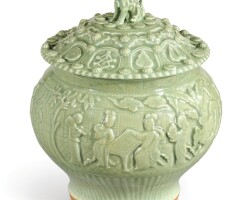 3633. an important and extremely rare longquan celadon'four scholarly accomplishments'jar and cover yuan dynasty