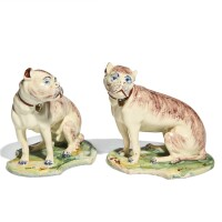 42. two similar continental faience figures of hounds, probably brussels or dutch, 19th century