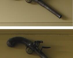 2. pair of walnut inlaid and engraved steel pistols, wilson, london, circa 1810