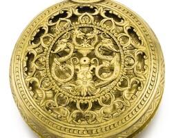8. 德國製,蓋印ck | 重要極大型早期銅鎏金正點報時懷錶備「stackfreed」彈簧制動機芯、鬧鐘及星盤錶盤,年份約1575