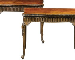 9. a pair of george ii carved mahogany concertina-action card tables circa 1755