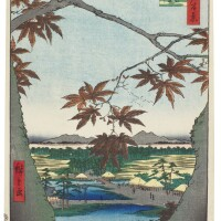 21. utagawa hiroshige i (1797–1858)maple trees at mama, tekona shrine and linked bridge (mama no momiji tekona no yashiro tsugihashi) edo period, 19th century | maple trees at mama, tekona shrine and linked bridge (mama no momiji tekona no yashiro tsugihashi) from the series one hundred famous views in the various provinces (shokoku meisho hyakkei), edo period 1857