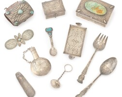 1. group of twenty-five southwestern silver boxes, implements and jewelry