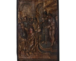 21. a spanish polychrome walnut relief of christ shown to the people 16th century