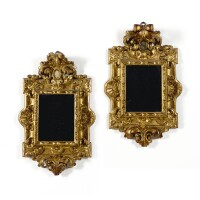 34. a pair of italian giltwood mirrors, possibly roman 18th century