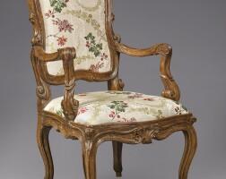 1005. an italian rococo walnut armchair, circa 1750