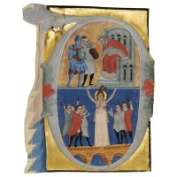 13. the martyrdom of st. agatha, large historiated initial on a cutting from an illuminated manuscript choirbook, on vellum