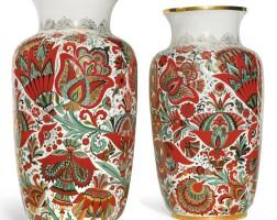 426. red flowers: a pair of monumental soviet porcelain vases, lomonosov porcelain factory, leningrad, circa 1965
