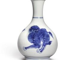 341. 清康熙 青花麒麟紋瓶  